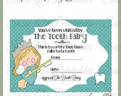 Tooth Fairy Certificate (blue background) - Digital Printable - Immediate Download