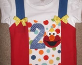 Red Monster Birthday Appliqued Shirt
