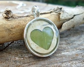 Rustic Bridesmaids Gift - Bridesmaids Jewelry - Real Birch Bark and Green Leaf Heart Necklace - Natural Pressed Leaf Jewelry - One Necklace