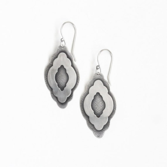 """Sterling silver boho chic earrings handmade of cloud shapes soldered together for a trendy bohemian style jewelry design - """"Billow Earrings"""""""