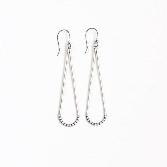 """Modern lightweight dangle earrings handmade with sterling silver in an elegant curved shape that swings lightly - """"Hammock Earrings"""""""