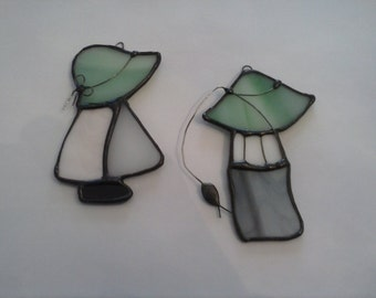 "Stained Glass ""Going Fishing with my Sister""  Suncatchers"