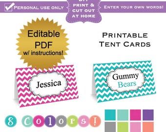 DIY editable printable tent label cards folding PDF (No.1) chevron girl baby shower or wedding bridal graduation Digital File