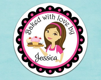 baker cupcake stickers (No.R19a) cooking gift personalized baking stickers from the kitchen of baked with love bye