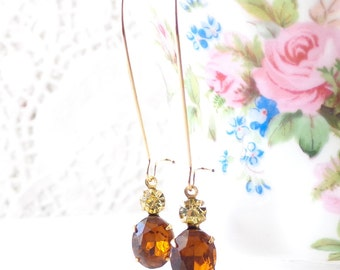 Vintage Topaz Earrings - Vintage Jonquil Earrings - Two Stone Earrings - Long Dangle Earrings
