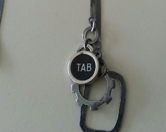 Typewriter Tab Key Necklace in Sterling Silver