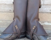Taller Swiss Military Style Gaiters or Spats in Oiled Chocolate Brown Leather w Antiqued Brass Hardware