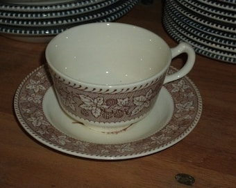 1960s Brown and White Currier & Ives Transferware--Teacup and Saucer