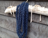Finger Knit Infinity Scarf Blue, child, adult, infinity, scarf, finger knit, knitting, knit