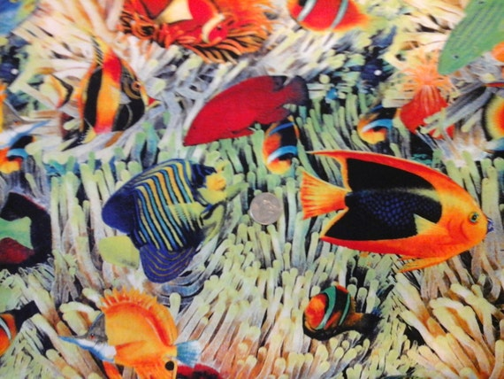 Shamash Brightly Colored Tropical Fish 100 Cotton By