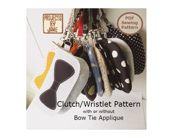 Easy Curvy Clutch/Wristlet Bow Tie Applique INSTANT DOWNLOAD Bag Sewing Pattern And Tutorial