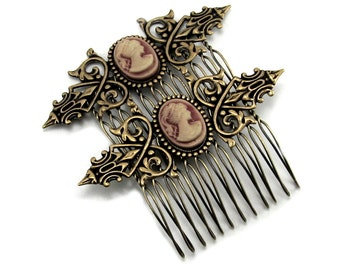 Neo Victorian Cameo Hair Combs with Shimmering Rose Gold Vintage Female Portrait Cameos - SET of 2 - By Ghostlove