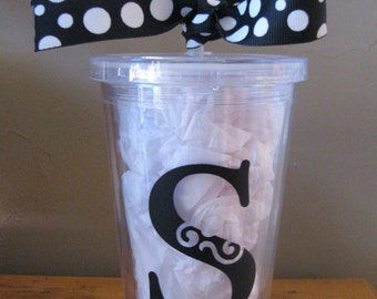 Vinyl Initialed Plastic Insulated Tumbler with Lid and Straw