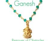 Ganesh Green Onyx Gemstone Necklace- Wisdom Prosperity Ganesh Jewelry, Ganesh Necklace, Yoga Inspired Jewelry, HIndu God, Spiritual Jewelry
