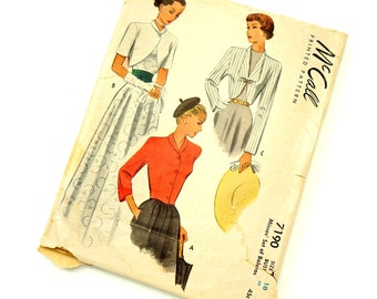 Vintage 1940s Womens Size 10 Set of Boleros McCalls Sewing Pattern 7190  Complete / bust 30 waist 24