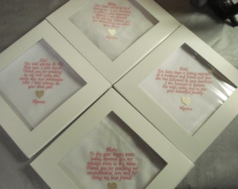 4 Wedding handkerchiefs - FREE SHIPPING - set of 4 each under 40 words - with gift boxes