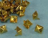 "45 PYRAMID Studs 3/8"" Gold (46811) Brass Metal USA Made Diamond Pronged Spikes DIY Rocker Biker Style Bulk Jewelry Supplies Decoration"