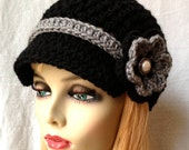 Crochet Womens Hat, Newsboy, Grey  and Black, Very Soft Chunky, Flower, Ribbon, Warm, Teens, Winter, Ski Hat, JE808N11B