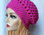 RESERVE for Dixie S., Lined, Two Crochet Hats, No Flower, Womens Slouchy Beret, Fuchsia and Dark Grey, JE407SBTF9