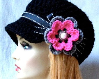 Crochet Newsboy, Woman Hat, Black, Ribbon, Flower, Hot Pink, Pearl Button, Gifts for Her, Birthday Gifts JE148NFR9