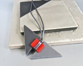 Fused Glass Geometric Gray Red Long Necklace