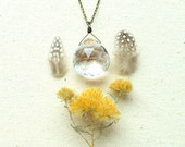Large crystal necklace long clear quartz necklace geometric triangle facets