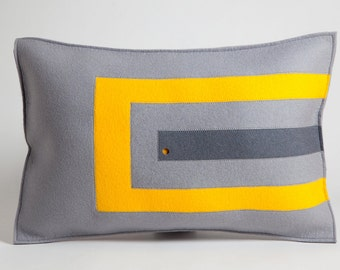 Felt Pillow in Yellow and Gray, Decorative Pillow in Yellow Felt, Wool Pillow, Felt Pillow with Graphic Design