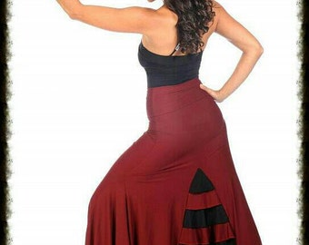 ESTRELLA  MIX color flamenco skirt ,Flamencita design,spanish skirt , tribal fusion skirt.