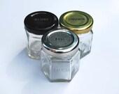Single DIY Empty Hexagon Magnetic Spice Jars (1.5 oz), Unlabeled Lids.