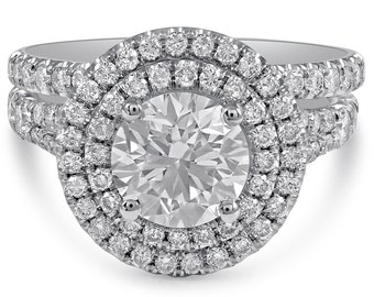 Round Cut Double Halo Diamond Ring and Band Wedding Set R217S
