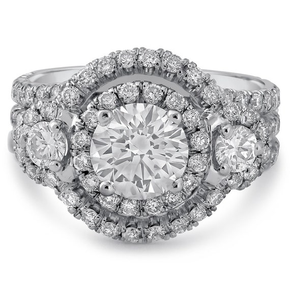 Round cut antique style double halo triple shank diamond engagement ring AR127