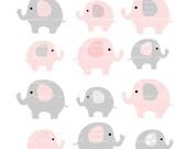 cute elephants clip art , Pink elephant, baby pink and grey elephants clip art, baby girl elephants clip art