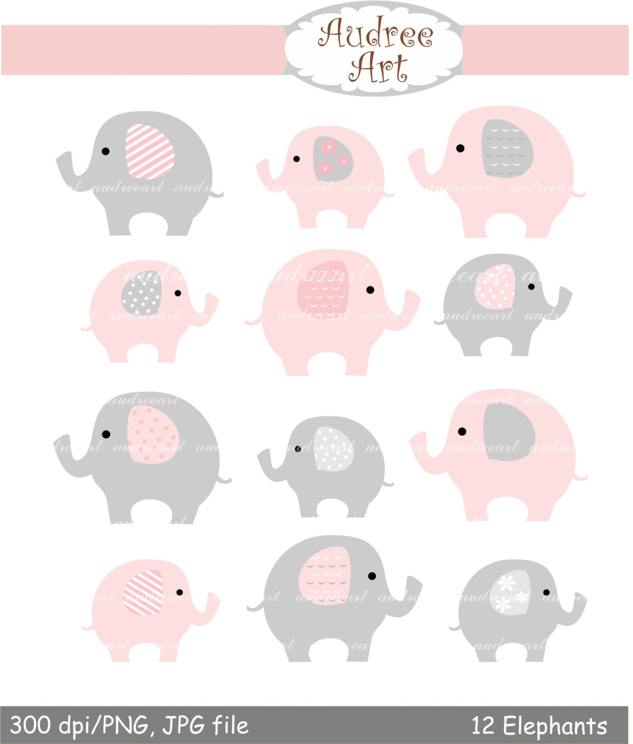 cute elephants clip art Pink elephant baby pink and grey