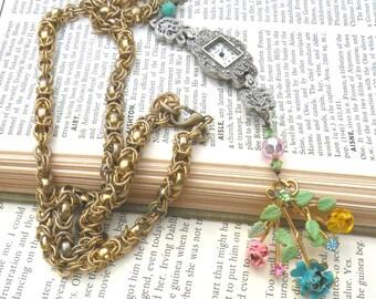 Y necklace enamel flower assemblage watch case cottage chic