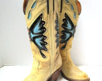 REDUCED Vintage Cowboy Boots Sz 6.5 USA Woman Boho Creamy w/ Fancy Turquoise Butterfly Stitching Capezio Classic Rockabilly Hoe Down Dress