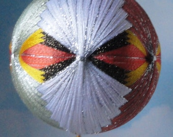 Vintage Large Colorful Silk Covered Christmas Ball Ornament with Fringes