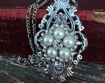 Vintage Rhinestone Necklace Embellishment Pearls and glass stones antique Silver