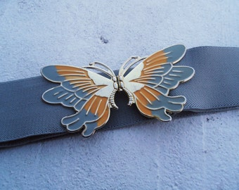 SALE Vintage 1970s Butterfly Enamel Grey and Yellow Belt Elastic Boho Adjustable Belt M/L
