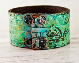 Leather Jewelry Hand Painted Wrist Cuff - 2016 Boho Gypsy Shabby Chic - Women's Leather Wristbands - Upcycled Eco Friendly - Tattoo Cover