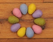 Felted Easter Eggs, Set of 10 Large Pastel Wool Eggs with optional Nest