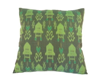 Ikat, Pillow, Cushion, Cotton, Handwoven, 16x16, Green