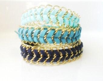 Chain Bracelet / Boho Chic Chevron Bracelet  / Friendship Bracelet / Gift for Her /Navy, Teal, Aqua Bracelet