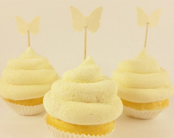 50 Ivory Butterfly Mini Toothpick Cupcake Toppers Wedding Birthday or Baby Shower
