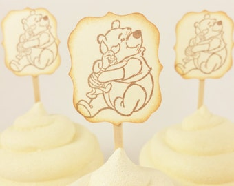 Winnie the Pooh and Piglet Cupcake Toppers Set of 12 Birthday Baby Shower