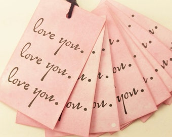 Love Tags Valentines Day Love Wedding Anniversary Pink Set of 10