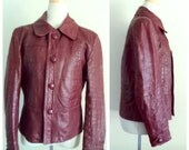 Vintage 1970's Oxblood Leather Jacket // Hipster Leather Jacket // Red Brown Burgundy Leather Jacket // Cropped Leather Jacket Coat