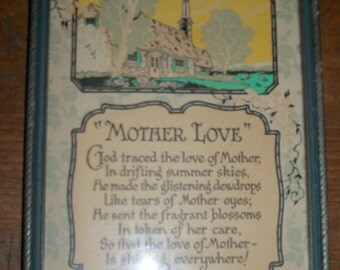 "1930s ""Mother Love"" Framed Motto Print"