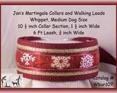 Jan's Martingales, Burgundy Collar and Leash Combination Walking Lead, Whippet, Medium Dog Size, Wbur107