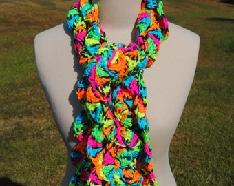 Neon Circle Scarf, Neon Scarf, Long Scarf, Crochet Long Scarf, Thick Scarf, Warm Scarf