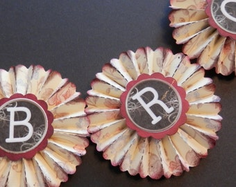 vintage wallpaper rosettes- Choose your letters
